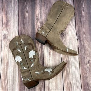 Shyanne- Leather Floral Embroidered Western Boots